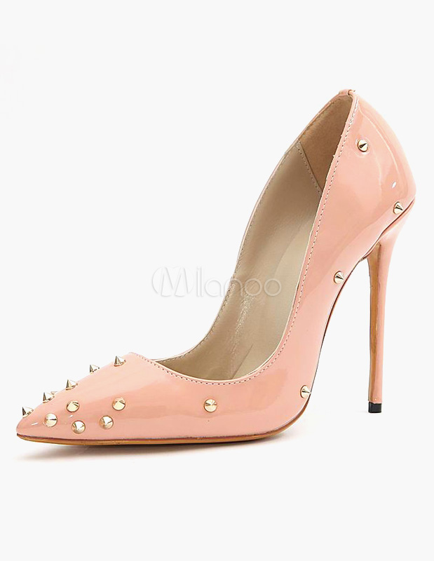 Buy Rivets Patent PU Sexy Pointy Toe Heels for $52.24 in Milanoo store