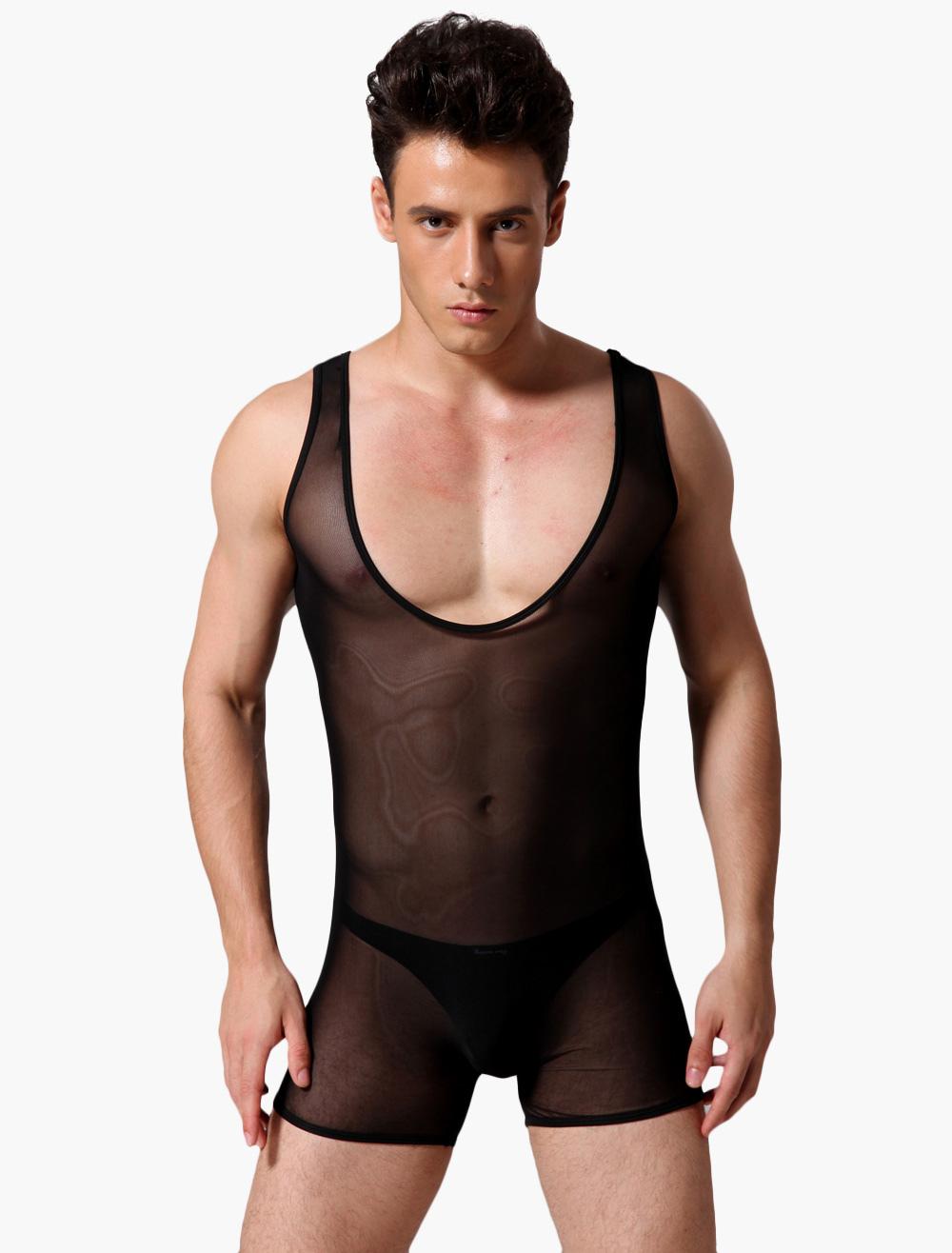 Sexy Scoop Neck Nylon Undershirt For Men