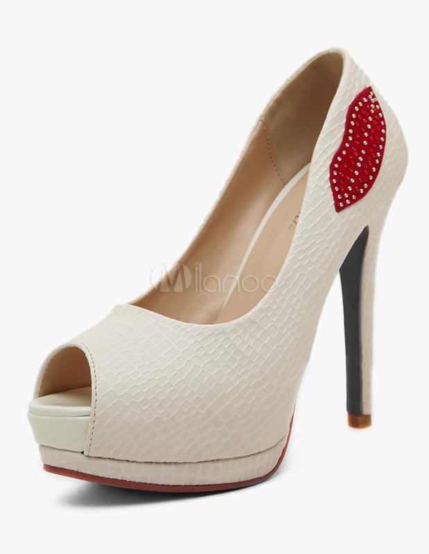 Zapatos Peep toe de PU blanco de estilo moderno jbtTN8z