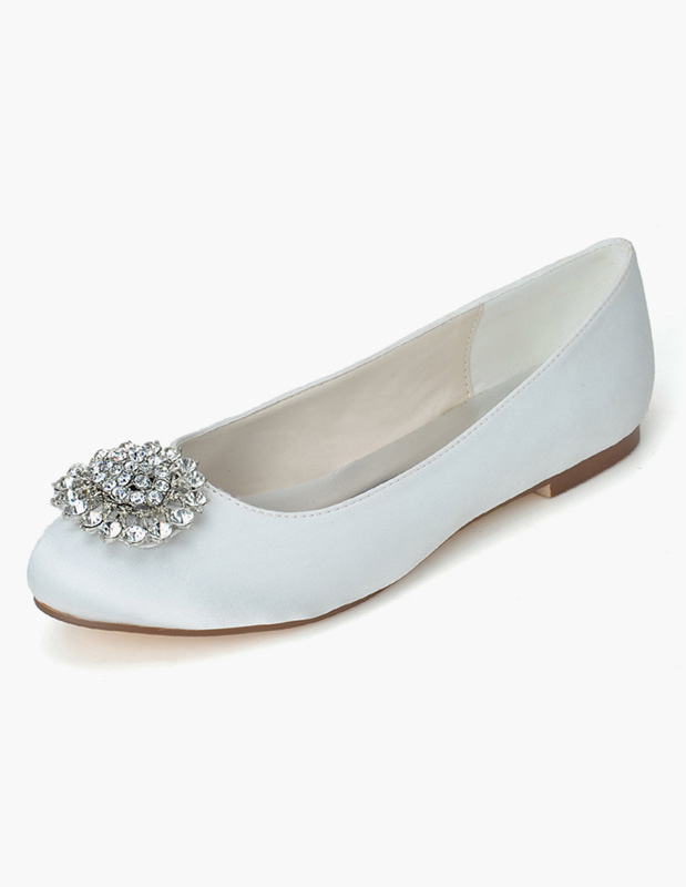 Buy Smart Round Toe Rhinestones Satin Bridal Flats for $43.69 in Milanoo store