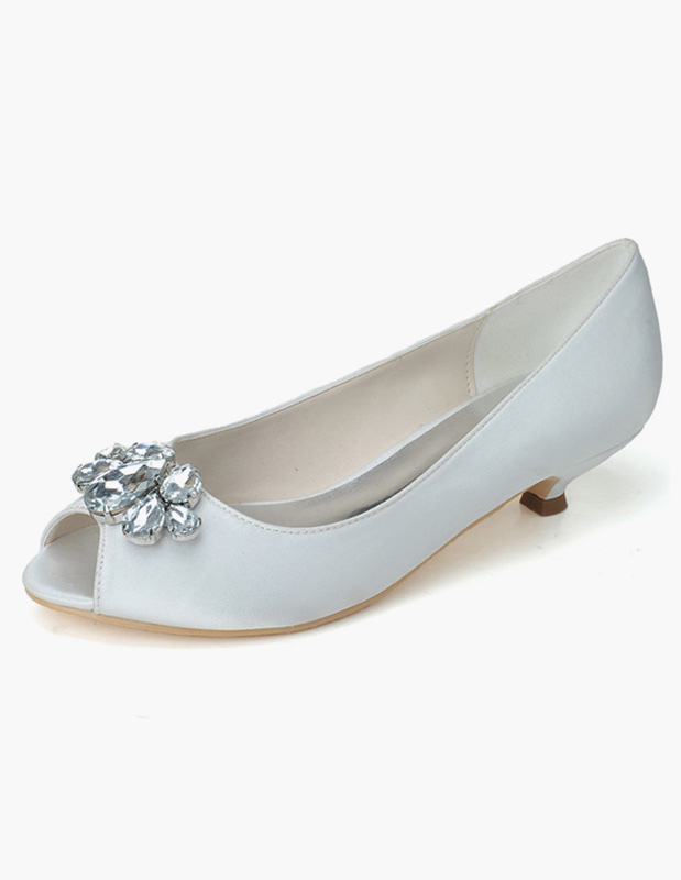 Buy Rhinestones Slip-On Peep Toe Satin Evening and Bride's Sandals for $45.59 in Milanoo store