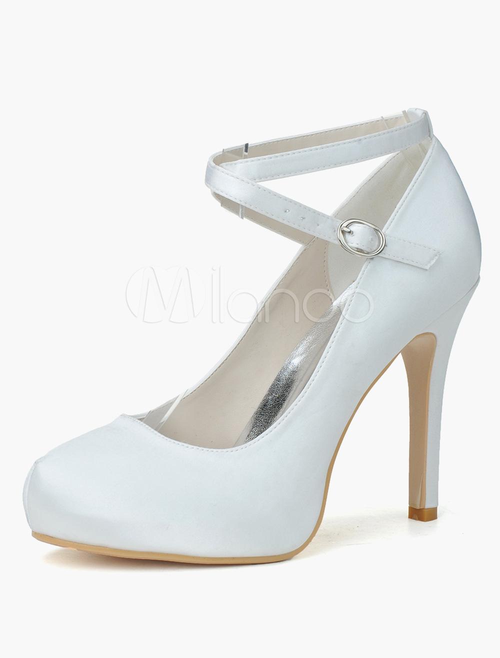 Beautiful Round Toe Satin Bridal Pumps