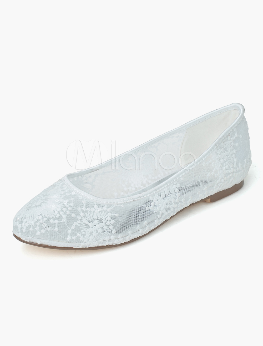 White Almond Toe Lace Romantic Flats