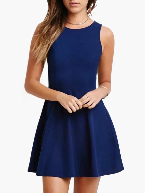 45ed6ecbba Vestido corto de poliéster azul con escote ovalado sin mangas Color liso  -No.1 ...