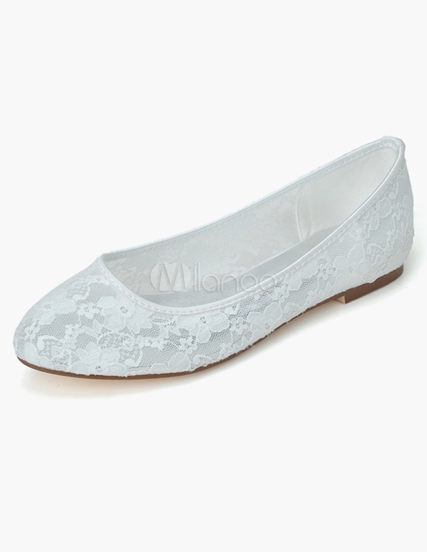 Lace Wedding Shoes White Wedding Guest Shoes Almond Slip On Flat Mother Shoes