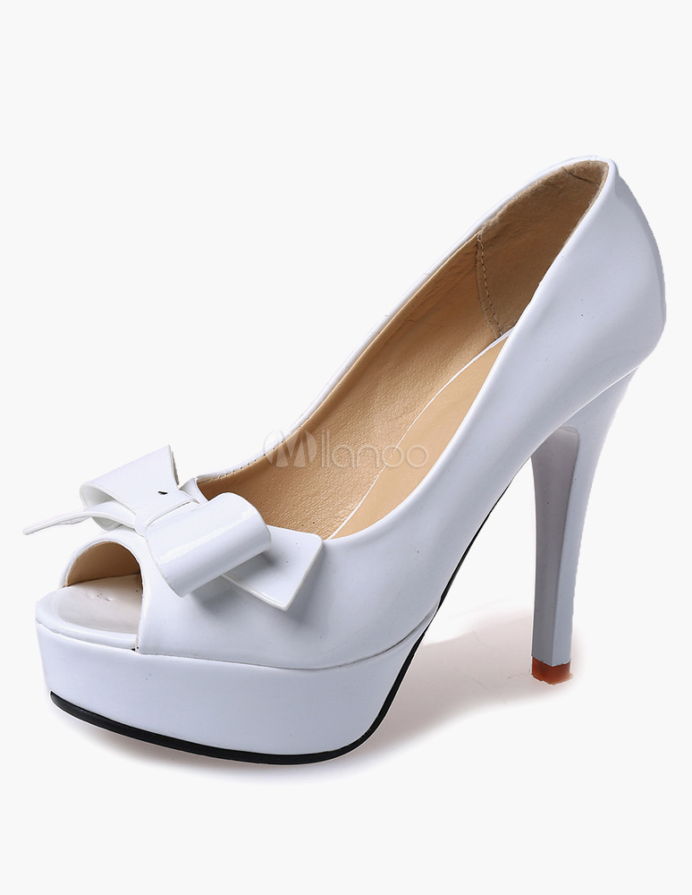 Zapatos peep toe de Charol PU con lazos MN9ok4G4