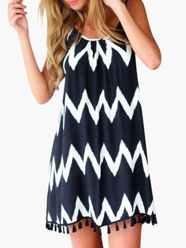 Black Straps Neck Zigzag Pattern Tassels Chiffon Women's Short Summer Dress Cheap clothes, free shipping worldwide