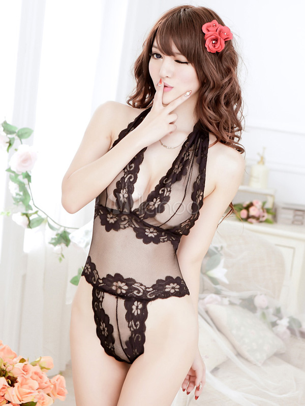 Sexy Black Teddy Lace Sheer Women's Lingerie