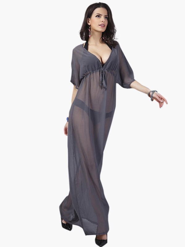af39dd4bd098f Bathing Suit Cover Up Chiffon Sexy Swimsuit Sheer Deep Gray V Neck Half  Sleeve Summer Beach ...