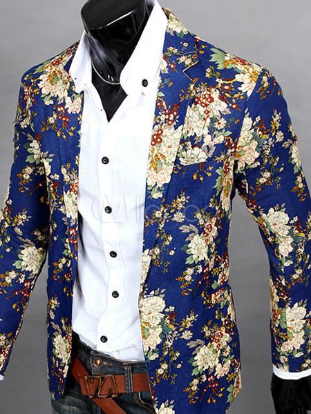 Blazer Man Casual Floral Print Cotton Blend Suit Jacket 2018 Navy Blue Blazer For Men