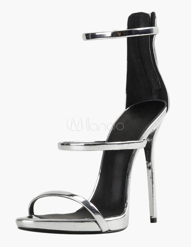 Women Silver Sandals Open Toe Patent PU Strappy Sandals High Heel Dress Sandals