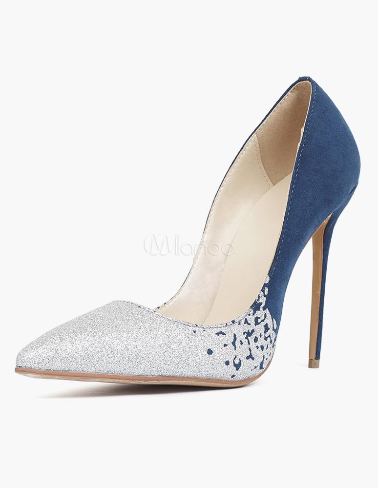 Buy Blue Stiletto Heel Micro Suede Pointy Toe Heels for $42.74 in Milanoo store