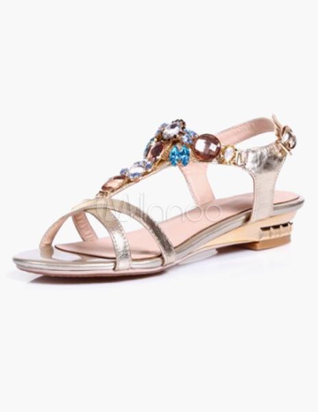 ceb396cce79b0f Gold Jeweled Flat Kid Skin Dress Sandals - Milanoo.com