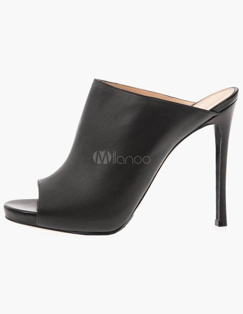 Black Stiletto Heel PU Leather Casual Slides