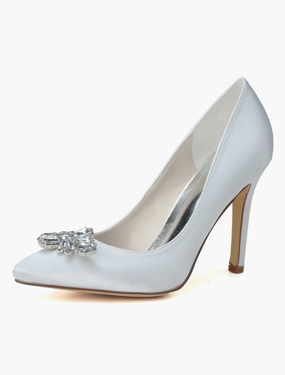 Buy Satin Rhinestones Pointed Toe Pumps For Bride for $47.49 in Milanoo store