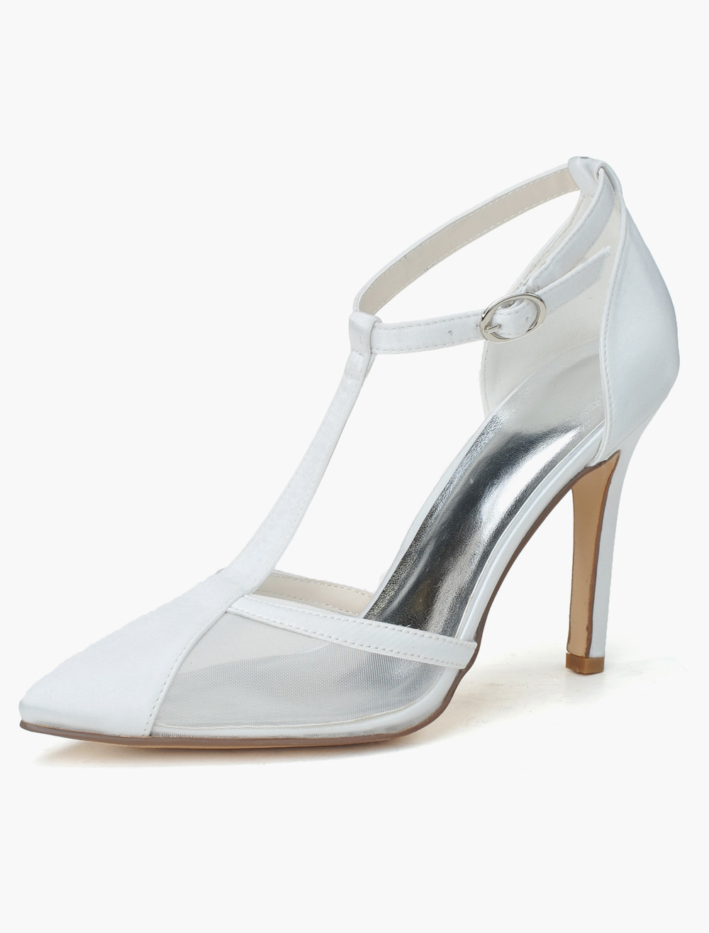Beautiful Satin Pointed Toe Pumps For Bride