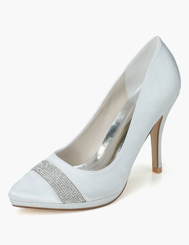 Buy Rhinestones Slip-On Pointed Toe Satin Evening and Bride's Platforms for $45.59 in Milanoo store