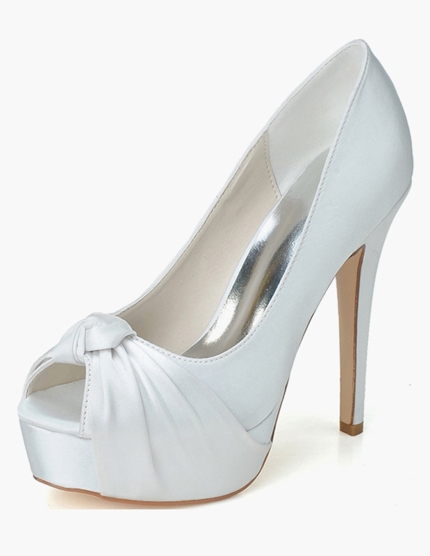 Buy Twisted Slip-On Peep Toe Satin Evening and Bridal Platforms for $49.39 in Milanoo store