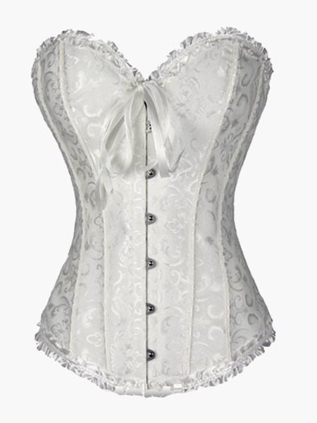 Buy White Bridal Corsets 2018 Jacquard Wedding Overbust Corset Waist Trainer for $11.19 in Milanoo store