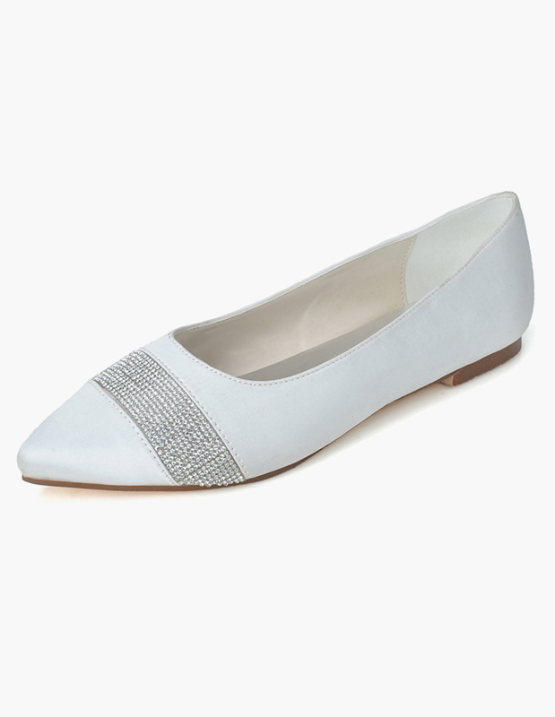 Buy Slip-On Pointed Toe Sequins Satin Evening Flats for $39.55 in Milanoo store