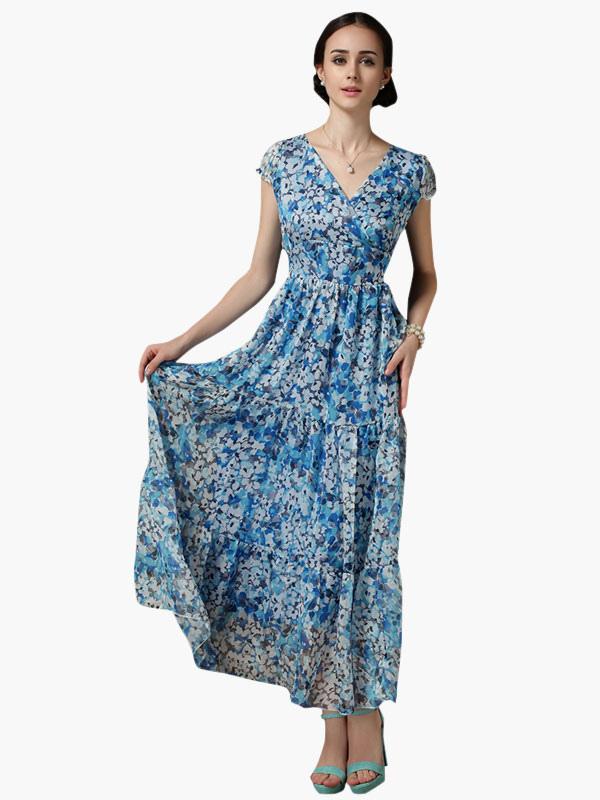 robe longue bleu chiffon col v. Black Bedroom Furniture Sets. Home Design Ideas