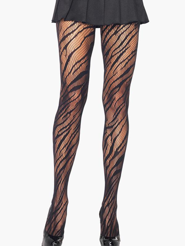 Black Zebra Pattern Semi-Sheer Hosiery