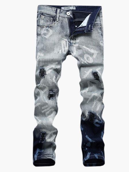 Blue Words Print Denim Straight Men's Jeans