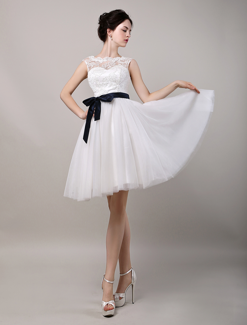 Buy A-Line Illusion Neckline Lace Bodice Knee-Length Tulle Wedding Dress With Satin Sash for $128.69 in Milanoo store