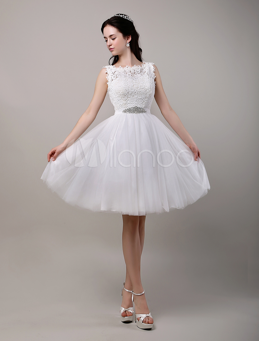 Buy A-Line/Princess Knee-Length Lace Bodice Tulle Wedding Dress With Beading Sequins Sash for $193.49 in Milanoo store