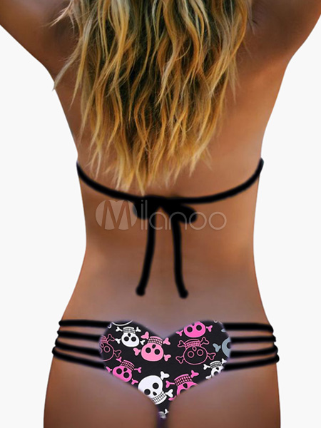 Sexy Bikini Strappy Bottom Skull Printed Heart Swimsuit Thong For Women