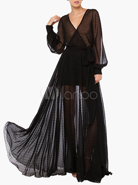Long Sleeves Semi-Sheer Long Sleeves Pleated Maxi Dress for Woman Cheap clothes, free shipping worldwide