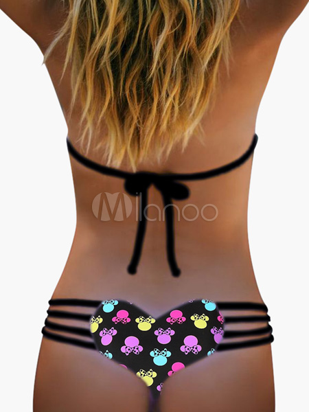 Heart Pattern Printed Women's Bikini Briefs