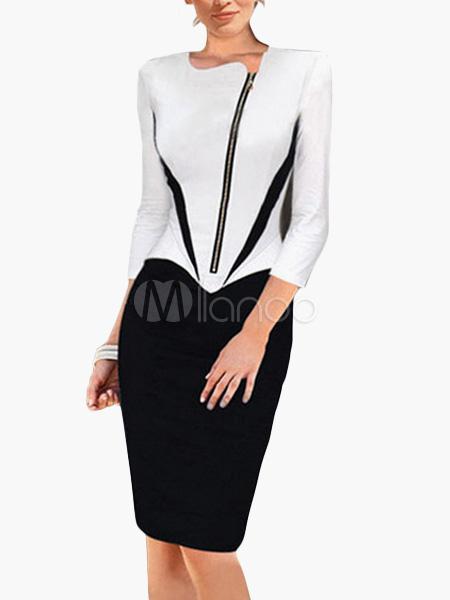 Two-Tone Cotton Blend 3/4 Length Sleeves Zipper Bodycon Dress
