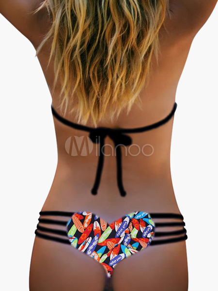 Sexy Bikini Strappy Bottom Printed Heart Swimsuit Thong For Women