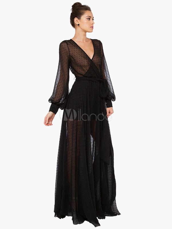robe longue noir pliss col v. Black Bedroom Furniture Sets. Home Design Ideas