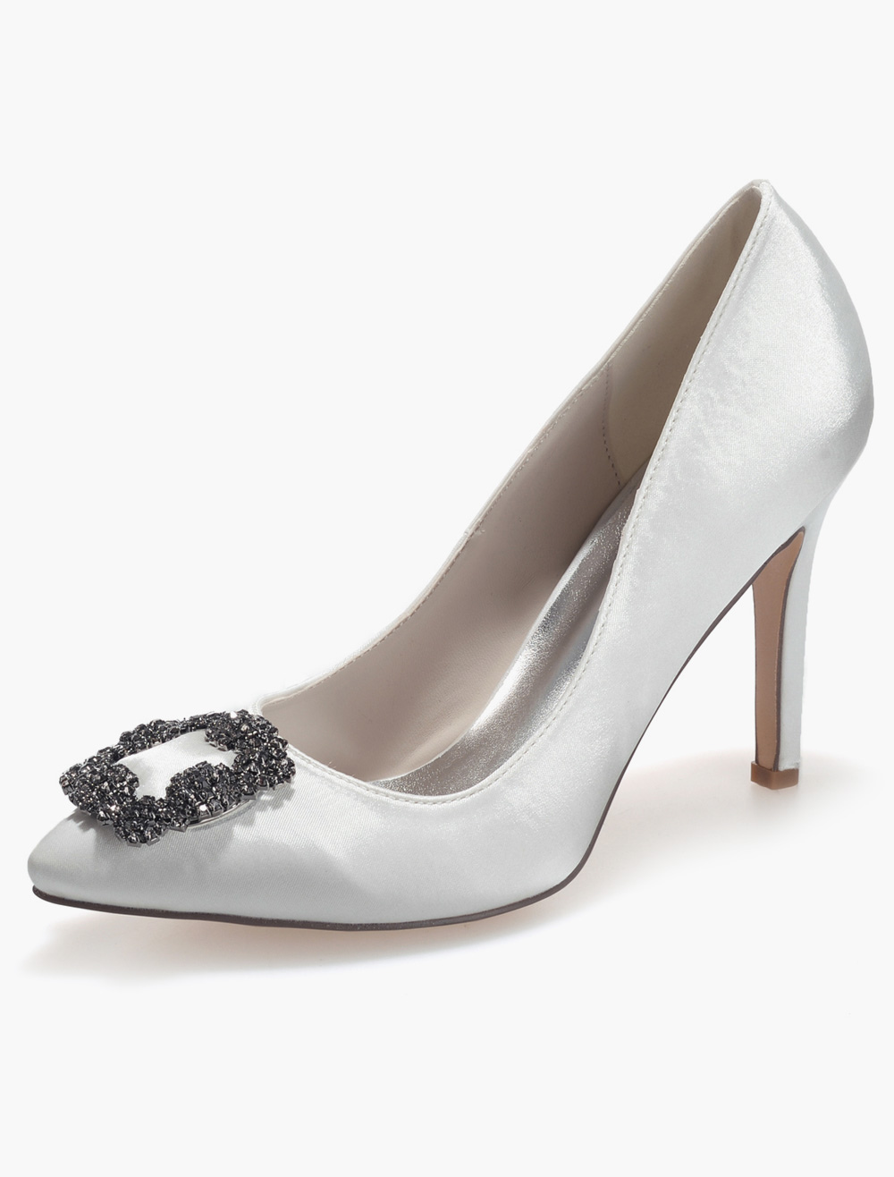 Glamour Rhinestones Pointed Toe Satin Pumps For Bride