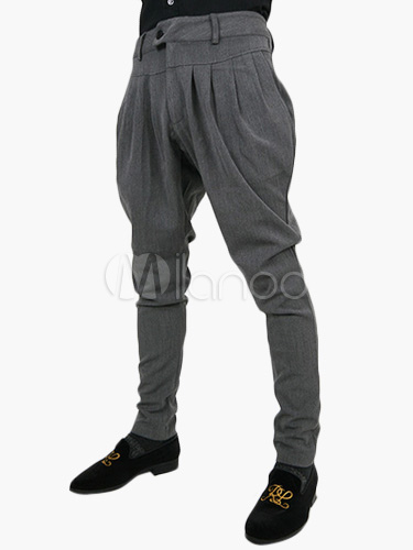 Buy Men Casual Pant Harem Style Ruched Drop Crotch Pant for $25.89 in Milanoo store