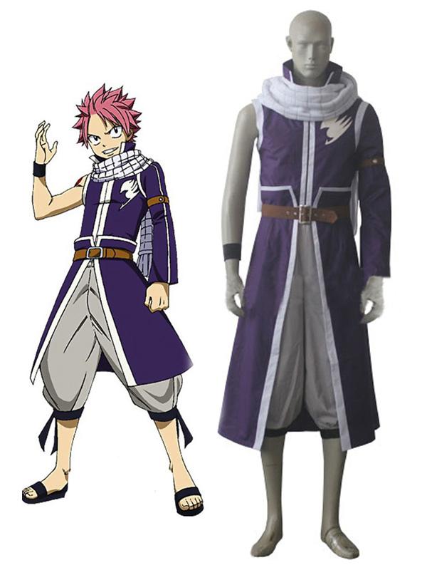 Fairy Tail Natsu Dragneel Halloween Cosplay Costume Purple Coat Halloween