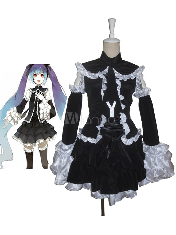 vocaloid hatsune miku halloween cosplay costume black lolita dress no1