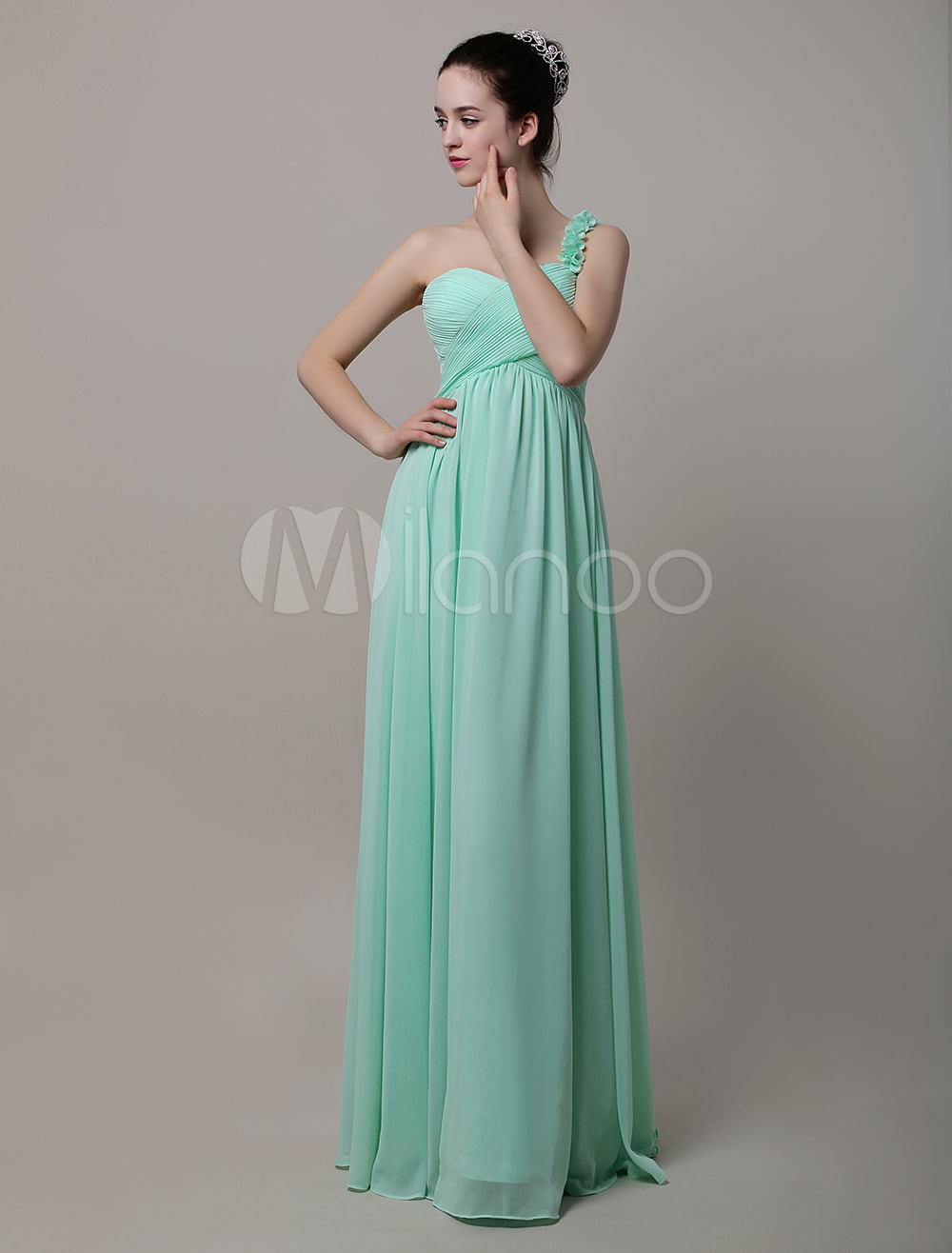 Sweatheart One Shoulder Floor-Length Chiffon Brismaid Dress