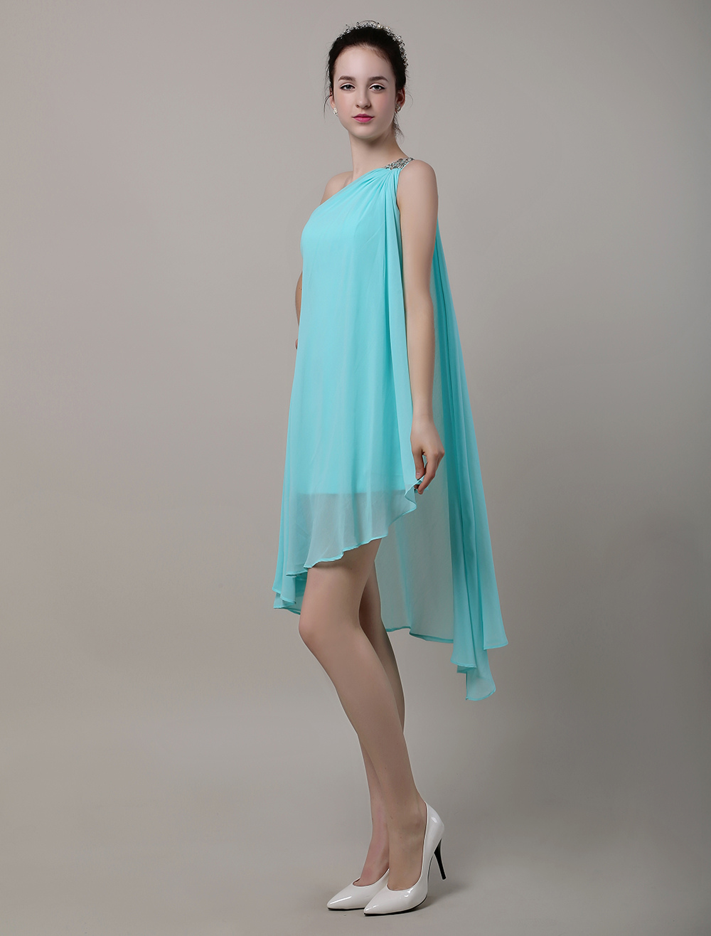 One Shoulder Beading Asymmetrical Chiffon Bridesmaid Dress