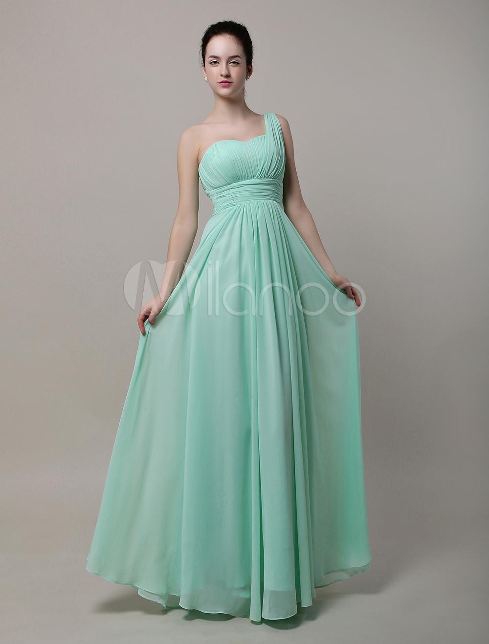 A-Line Sweatheart One Shoulder Floor-Length Chiffon Bridesmaid Dress