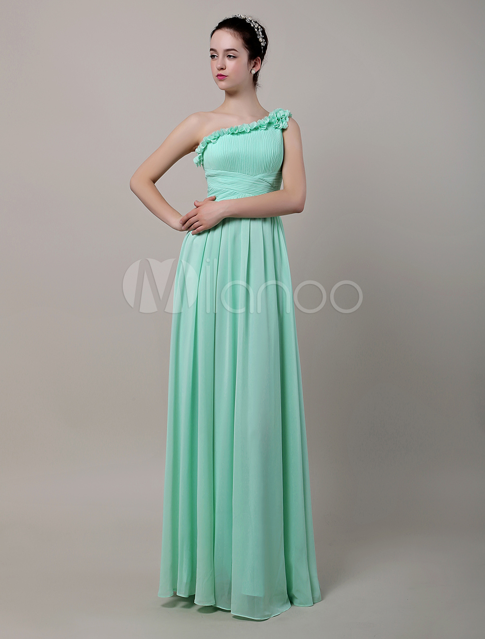 One Shoulder Floor-Length Chiffon Bridesmaid Dress With Flowers