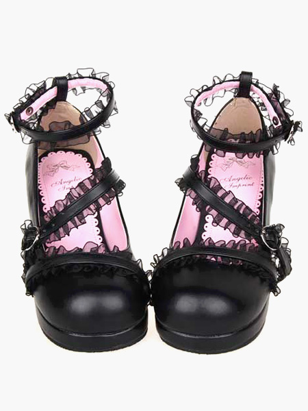 Buy Matte Black Lolita Chunky Heels Shoes Lace Trim Ankle Straps Buckles for $66.59 in Milanoo store