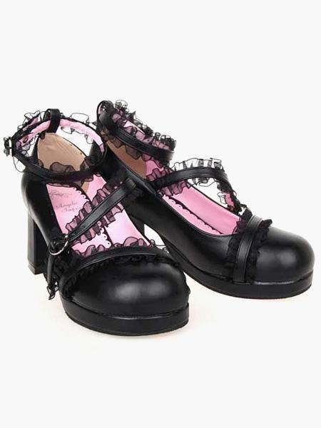 Zapatos Mate Negro Lolita Tacones Gruesos Zapatos Encaje Trim Tirantes de tobillo Hebillas 3L4Xed