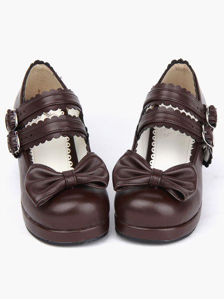 Milanoo / Coffee Brown Lolita Chunky Heels Shoes Square Heels Ankle Straps Buckles Bow Decor