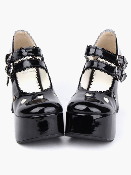 Milanoo / Glossy Black Lolita Chunky Heels Shoes Platform Shoes Ankle Straps Buckles Bow Hollow Heart