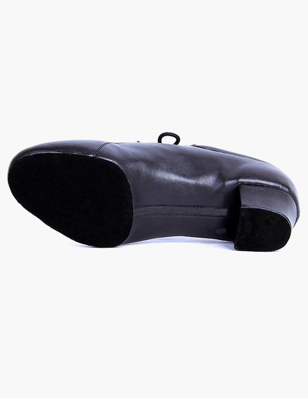 Exclusivo encaje negro dedo del pie redondo cuero salón de baile zapatos uaZeMuz0O