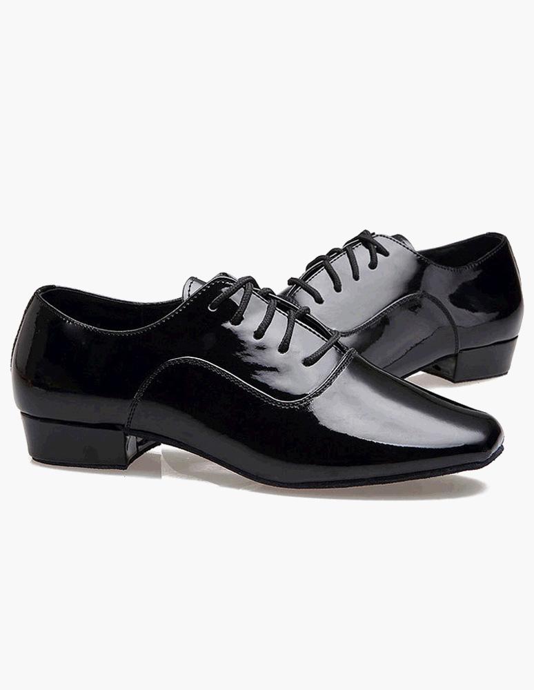 Negro redondo con encaje Toe patentes PU zapatos de salón de baile SThFHp