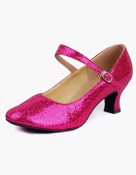 Sequined Ballroom Shoes Pointed Toe Mary Jane Dance Shoes Latin Dancing Shoes